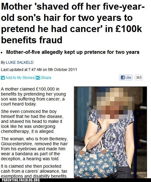 bad parenting cancer exploitation news Parenting Fail sick terrible - 5281702144