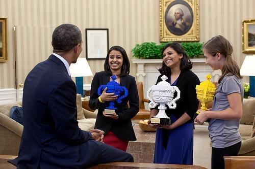 barack obama,google science fair,lego,Nerd News,Toyz,trophies,White house