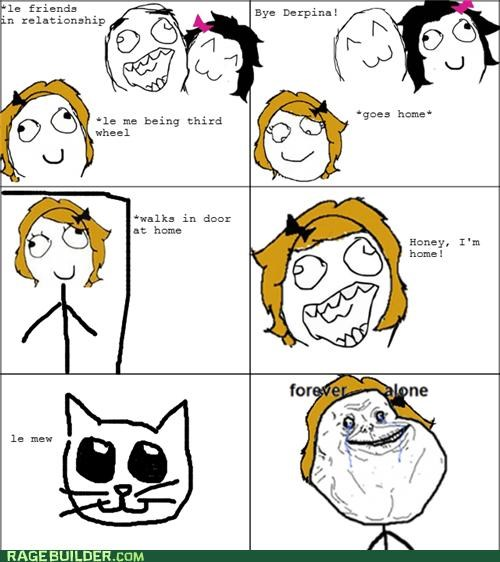 cat cat lady forever alone Rage Comics third wheel - 5282093824
