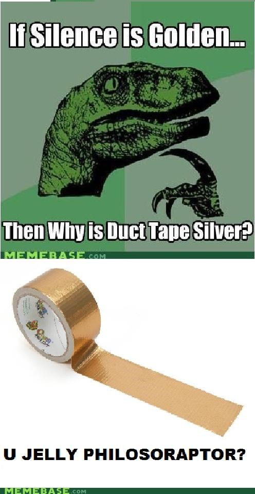 duct tape,golden,philosoraptor,silence,silver,what
