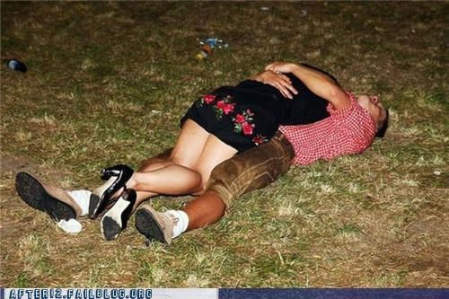 affection drunk hug lawn passed out PDA yard