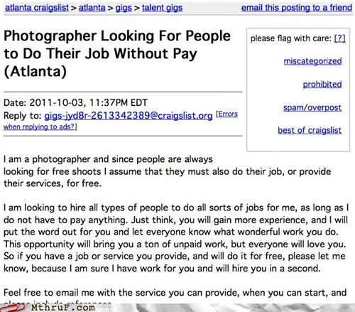 craigslist Hall of Fame job ad job hunt model photography want ad work - 5282737920