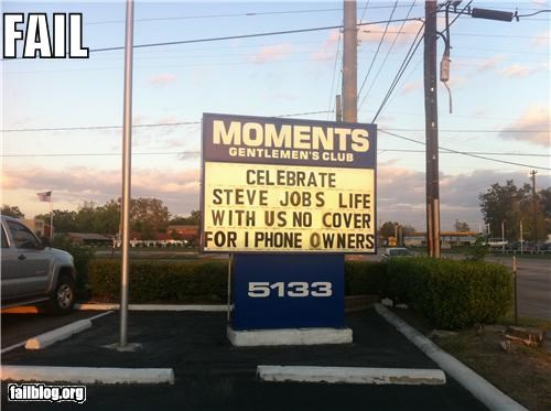 RIP Steve Jobs Gentlemens Club Fail Strip club tribute to Steve Jobs