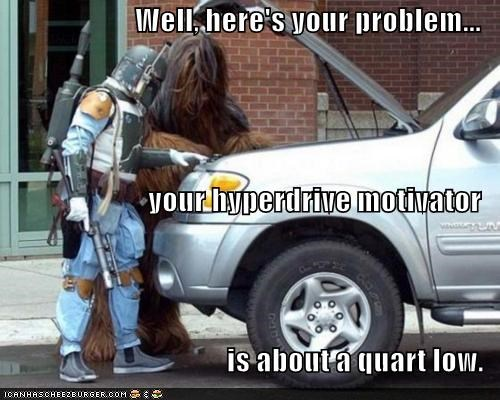 Well, here's your problem... your hyperdrive motivator is about a quart low.