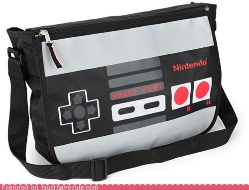 controller,konami code,messenger bag,NES,nintendo,work