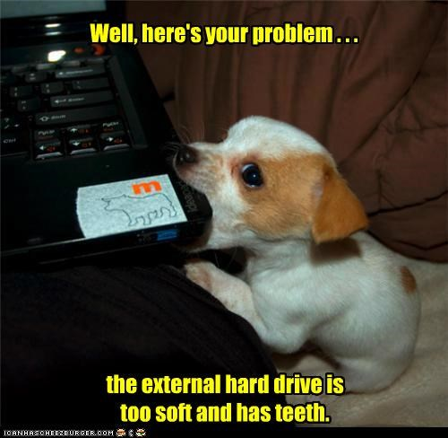 Well, here's your problem . . . the external hard drive is too soft and has teeth.