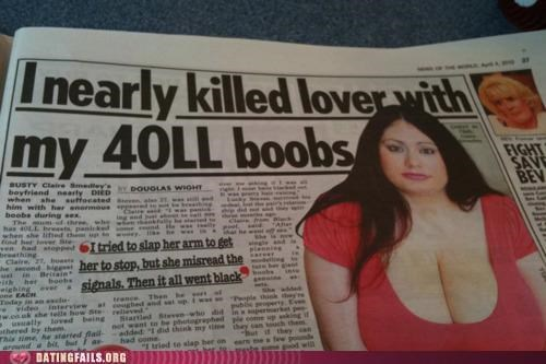 big breasts,breasts,headlines,killed,news,tabloids,We Are Dating