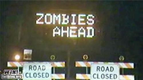 caution construction halloween road sign warning zombie - 5285145088