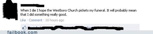 funeral,picket,Westboro Baptist Church,witty status