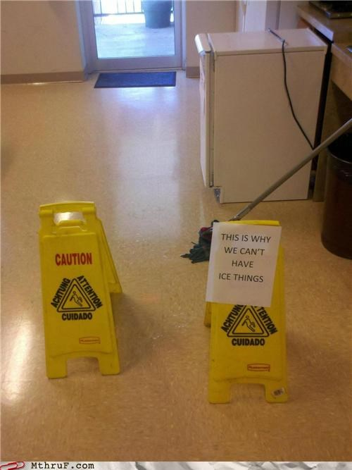 batman,cleaning,floor,ice machine,notice,pun,sign,warning
