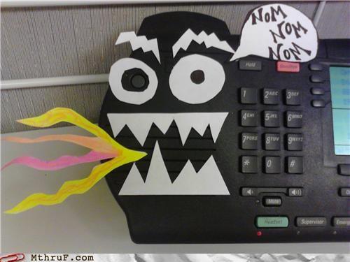 hacked phone nom nom nom phone fire - 5285854720