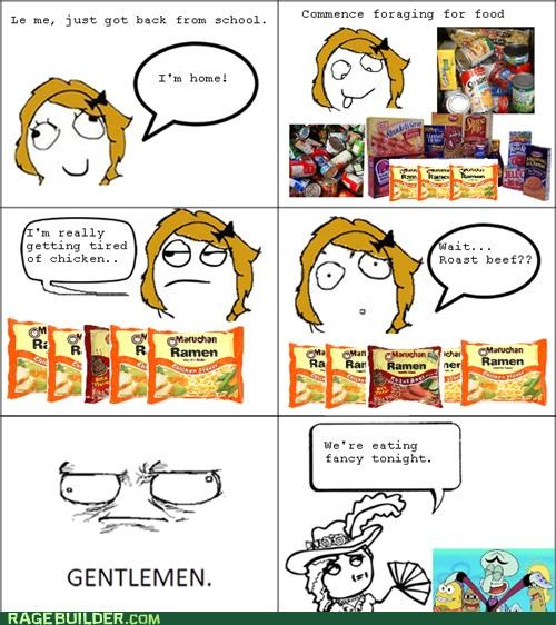 fancy,like a lady,Rage Comics,ramen,school