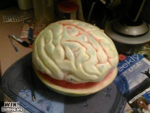 art,brain,carving,food,fruit,watermelon