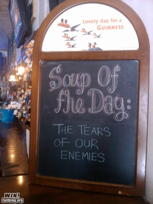 bar,business,clever,Conan the Barbarian,restaurant,sign,soup