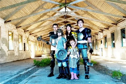 armor DIY homemade photoshoot weapons zombie-slaying family