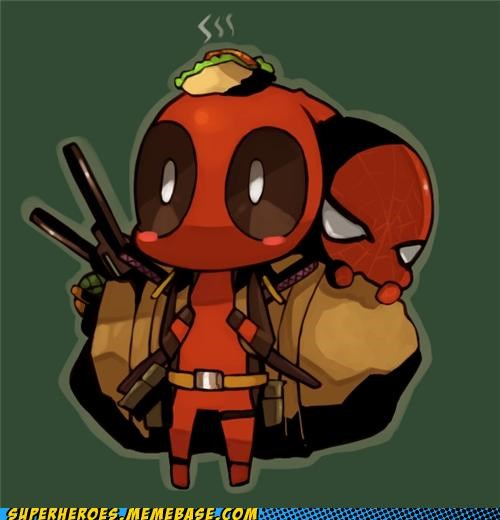 Awesome Art best of week cute deadpool hiding Spider-Man taco - 5286375936