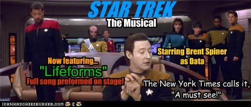 """STAR TREK The Musical Now featuring... """"Lifeforms"""" The New York Times calls it, """"A must see!"""" Starring Brent Spiner as Data Full song preformed on stage!"""