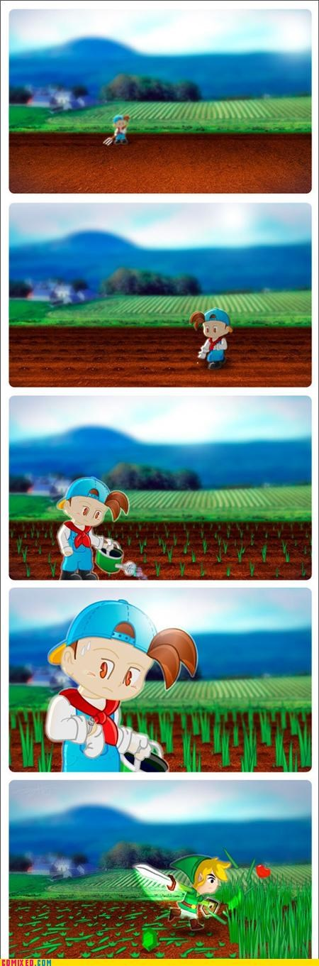 cutting,grass,harvest moon,hearts,link,video games