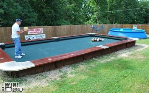 backyard bowling design outdoor pool table toy yard
