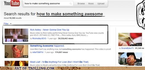 rick roll something awesome videos youtube