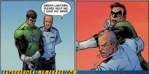 best of week,Green lantern,no arms,punch,Straight off the Page,wtf