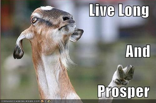 best of the week caption captioned goat Hall of Fame live long prosper sign Spock Star Trek symbol - 5289048832