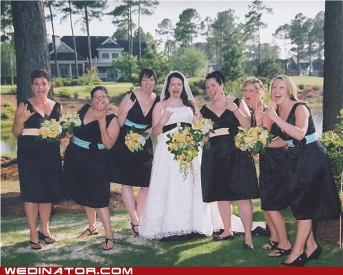 bride,bridesmaids,funny wedding photos,metal