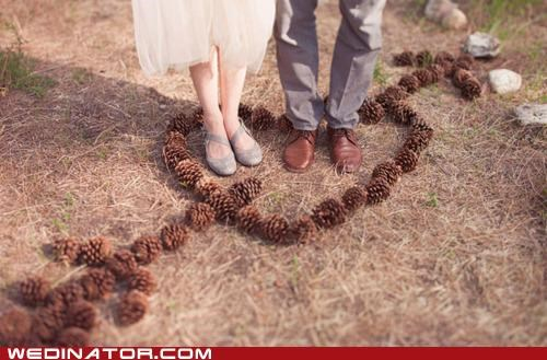 bride,funny wedding photos,groom,pine cones