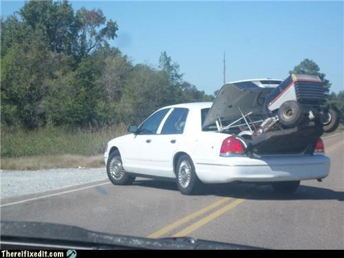 cars,lawnmower,moving day,trunk,wtf