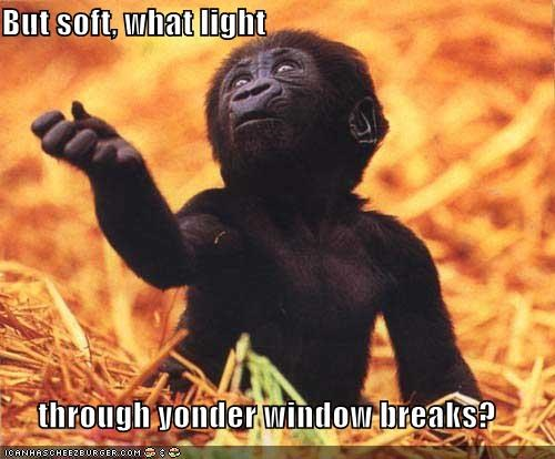 But soft, what light through yonder window breaks?