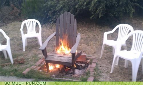 burning,chair,double meaning,hot,hot seat,literalism,seat,wood,wooden