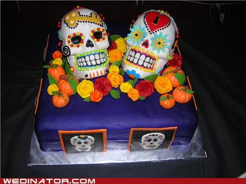 cake,Day Of The Dead,funny wedding photos,mexico,wedding cake