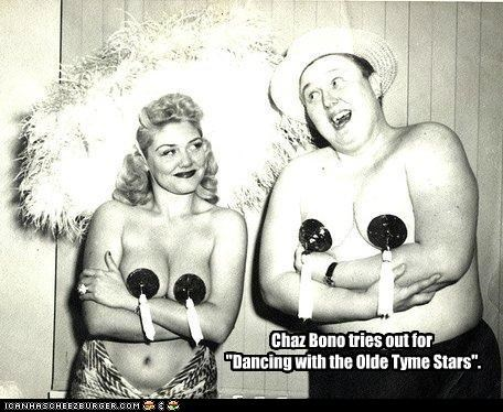 """Chaz Bono tries out for """"Dancing with the Olde Tyme Stars""""."""
