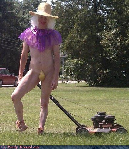 banana hammock,bikini,cross dressing,hat,lawn,lawnmower