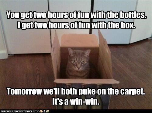 both bottles box caption captioned carpet cat fun hours puke same same difference tomorrow two win win