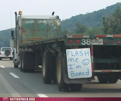 flash,flashing,highway,road,sign,truck,trucker,We Are Dating