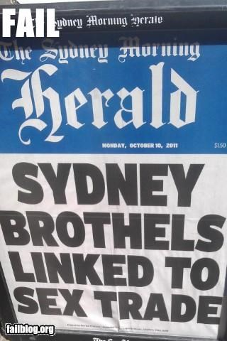 Headline Fail... This headline is supposed to be about brothels and the *illegal human trafficking* for sex. Reportage fail.