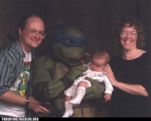 90s,Awkward,baby,cartoons,comic book,family portrait,nerdgasm,Parenting Fail,portrait,TMNT