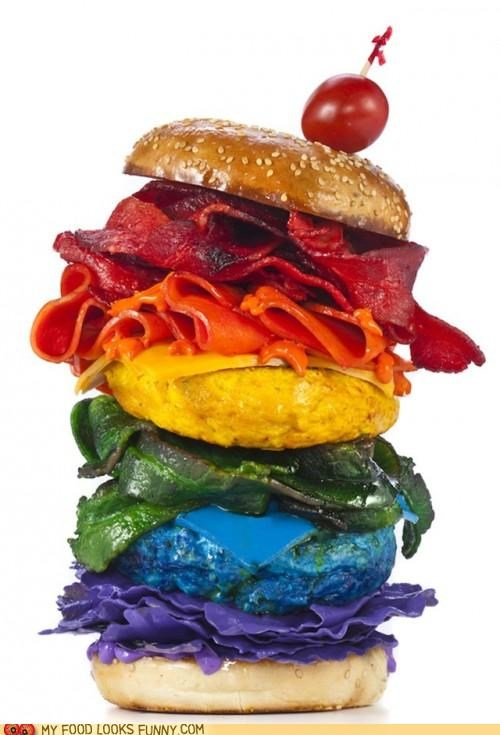burgers funny food photos rainbows - 5296259584