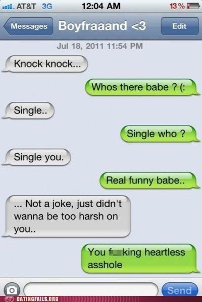 breaking up jokes knock knock text texting We Are Dating - 5296755456