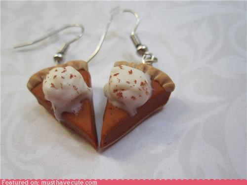 dangle earrings food pumpkin pie thanksgiving - 5296895232