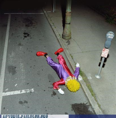 clown,costume party,curb,drunk,passed out