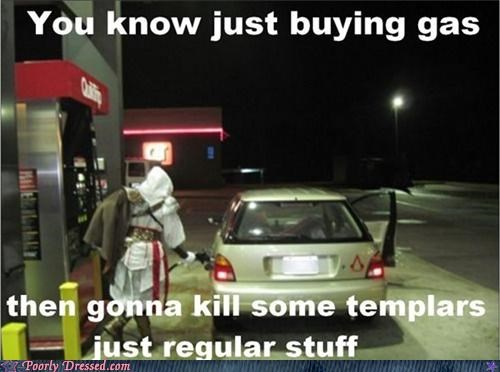 car,cosplay,costume,gas,gas station,templar