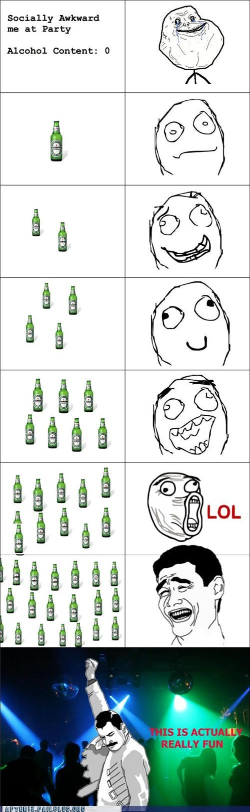 beer,booze,club,dance party,drinking,Heineken,liquid courage,Rage Comics
