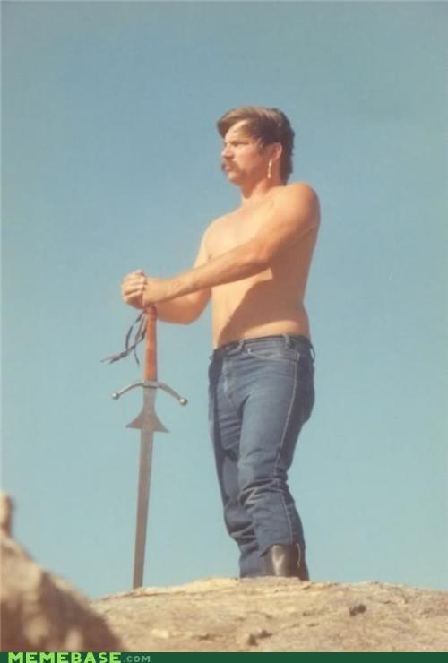 70s king mustache sword wtf - 5297496320