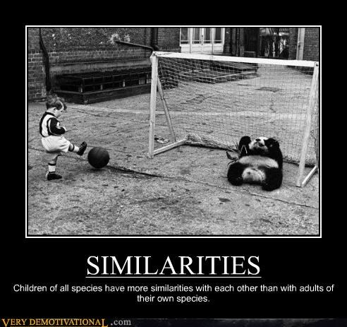 SIMILARITIES Children of all species have more similarities with each other than with adults of their own species.