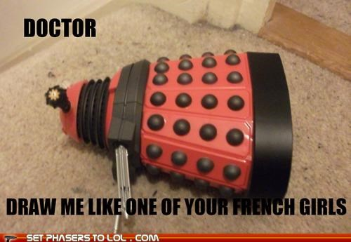dalek,doctor,doctor who,draw me like one of your,french girls