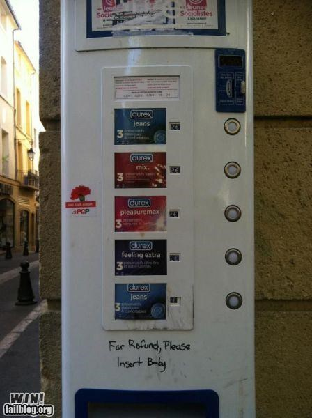 baby conception condom hacked irl parenting protection refund returns vending machine