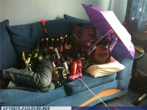 beer,beer bottle,couch,drunk,hold,k thanks,passed out,stack,umbrella