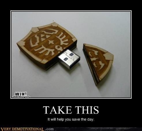 legend of zelda,Pure Awesome,shield,thumb drive